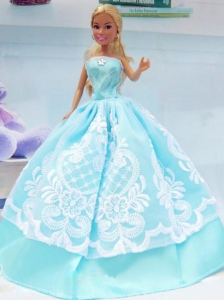 Embroidery Baby Blue For Princess Quinceanera Doll Dress