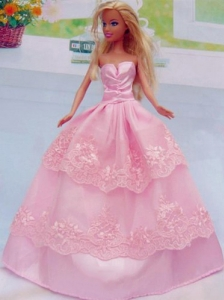Embroidery Floor-length Rose Pink For Princess Quinceanera Doll Dress