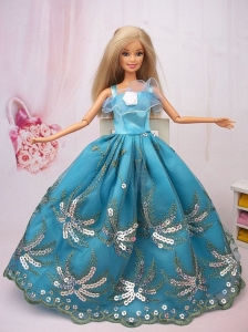 Exclusive Ball Gown Teal Beading Hand Made Flower Quinceanera Doll Dress
