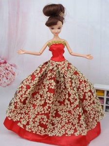 Fashionable Red Ball Gown Quinceanera Doll Dress