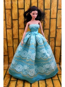 Fashionable Teal Party Dress For Quinceanera Doll With Lace