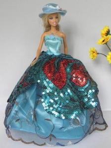 Free Shipment Quinceanera Doll Lace And Sequins Clothes Party Dresses Gown