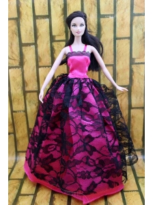 Gorgeous Hot Pink And Black Lace Gown For Quinceanera Doll