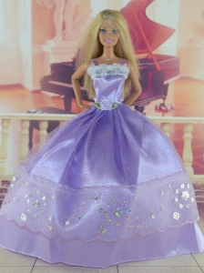 Gorgeous Lilac Gown With Sequins Made To Fit The Quinceanera Doll