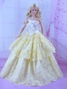 Gorgeous Yellow Princess Dress For Quinceanera Doll