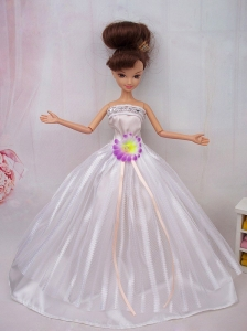 Hand Made Flower Ball Gown Quinceanera Doll Dress