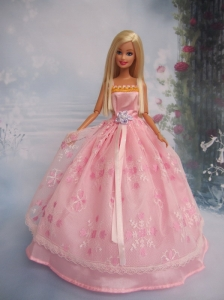 Hand Made Flower Lace Pink Ball Gown Quinceanera Doll Dress