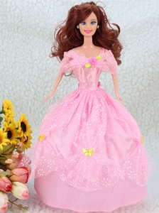 Hand Made Flower Pink Ball Gown Party Clothes Quinceanera Doll Dress