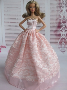 Lovely Baby Pink Applqiues Party Clothes Fashion Dress For Quinceanera Doll