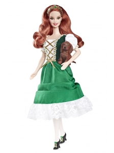 Lovely Handmade Holiday Dress Green Taffeta Quinceanera Doll Dress