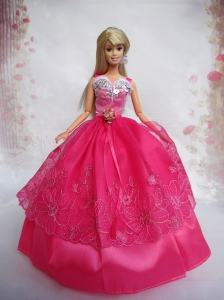 Lovely Hot Pink Ball Gown Taffeta And Organza Quinceanera Doll Dress