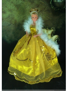 Luxurious Appliques Yellow Strapless Party Clothes Fashion Dress For Quinceanera Doll