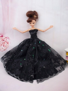 Modest Ball Gown Lace Black Party Clothes Quinceanera Doll Dress