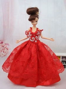 New Beautiful Ball Gown Red Lace Handmade Party Clothes Fashion Dress For Quinceanera Doll