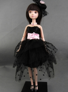 New Beautiful Black Party Dress For Tulle Quinceanera Doll
