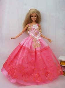 New Beautiful Pink Lace Handmade Party Clothes Fashion Dress For Quinceanera Doll