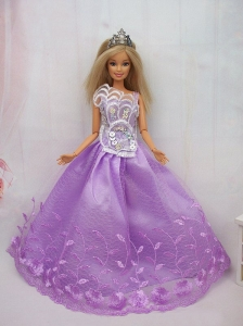 New Beautiful Princess Lilac Lace Handmade Party Clothes Fashion Dress For Quinceanera Doll