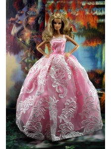 New Embroidery Fashion Princess Pink Dress Gown For Quinceanera Doll