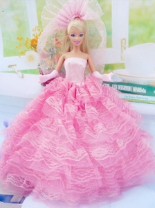 New Fashion Ball Gown Pink Dress Gown For Quinceanera Doll