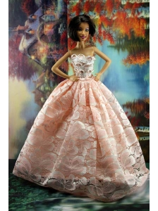 Perfect Pink Princess Dress With Lace For Quinceanera Doll