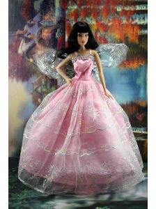 Pink Organza Ball Gown Made To Fit The Quinceanera Doll