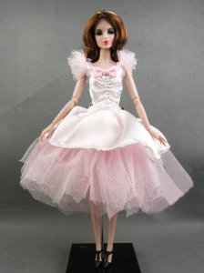 Pretty Handmade Pink Tulle Ball Gown Quinceanera Doll Dress