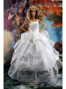 Pretty Ruffled Layers Wedding Dress To Quinceanera Doll Dress