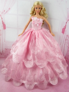 Romantic Pink Gown With Embroidery Dress For Quinceanera Doll