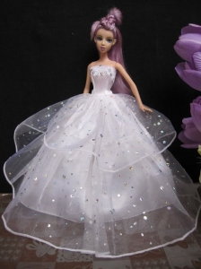 Romantic Wedding Gown With Sequins Dress For Quinceanera Doll