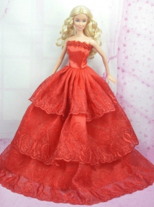 Rust Red Princess Dress With Embroidery Gown For Quinceanera Doll