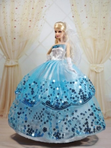 Sequin Decorate And Ball Gown Dress For Quinceanera Doll