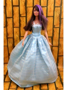 Simple Baby Blue Floor-length Dress For Quinceanera Doll