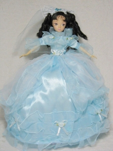 Sweet Blue Gown With 3/4 Length Sleeves For Quinceanera Doll