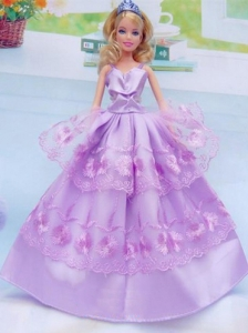 Taffeta And Embroidery For Lilac Quinceanera Doll Dress