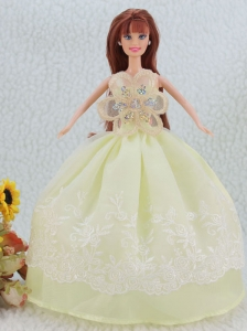 The Most Beautiful Beading And Embroidery Yellow Green Ball Gown Party Clothes Quinceanera Doll Dress