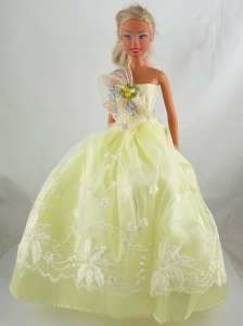 Yellow Green Beautiful Gown With Embroidery Dress For Quinceanera Doll