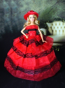 Amazing Red Dress With Lace Made To Fit The Quinceanera Doll
