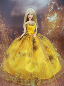 Beading Decorate Ball Gown Gold Quinceanera Doll Dress