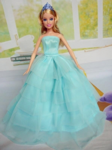 Beautiful Aqua Blue Party Clothes for Noble Barbie Doll Tulle