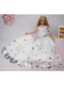 Beautiful Hand Made Flower Sequin Quinceanera Doll Dress