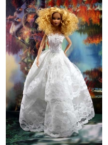 Beautiful Lace Over Skirt Wedding Quinceanera Doll Dress