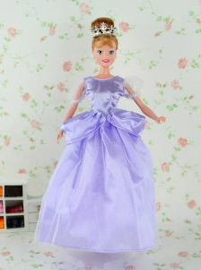 Beautiful Lilac Tulle Party Dress For Quinceanera Doll