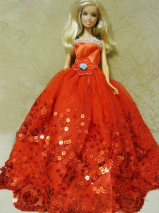 Beautiful Organza Red Ball Gown Quinceanera Doll Dress