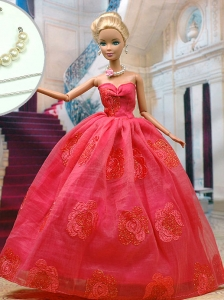 Beautiful Organza Red Party Clothes Fashion Dress For Quinceanera Doll