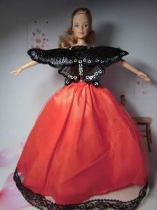 Beautiful Red Party Clothes Fashion Dress For Quinceanera Doll