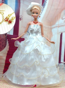 Beautiful White Wedding Dress For Quinceanera Doll