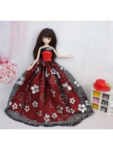 Black And Red Ball Gown Embroidery Quinceanera Doll Dress