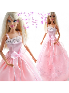 Bowknot Embroidery Princess Pink Quinceanera Doll Dress