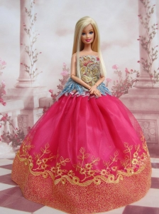 Elegant Ball Gown Organza Colorful Quinceanera Doll Dress