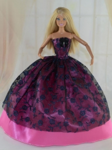 Elegant Ball Gown Party Clothes Lace Black And Hot Pink Quinceanera Doll Dress